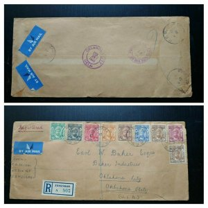 "V.Rare Zanzibar ""Einzigartige Kombination"" 1951 ""Registered"" Postaly Used Cover"
