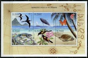 ST. VINCENT GRENADINES SCOTT#2549 ENDANGERED SPECIES OF CARIBBEAN SHEET MINT NH