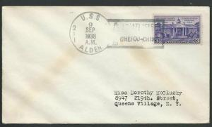 CHINA USA 1938 navy cover USS ALDEN at Chefoo China........................61108