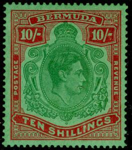 BERMUDA SG119d, 10s Deep Green & Dull Red/Green, LH MINT. Cat £85.