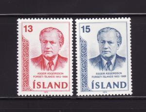 Iceland 456-457 Set MH President Asgeir Asgeirsson