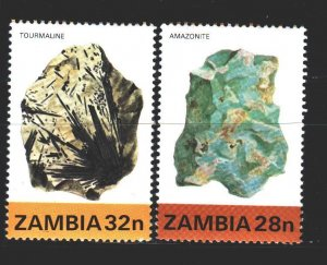 Zambia. 1982. 270-71 of the series. minerals. MNH.