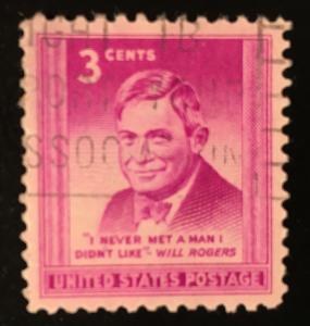 975 Will Rogers, circulated single, light cancel, VF, NH, Vic's Stamp Stash