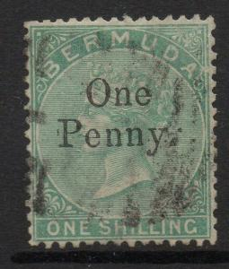 BERMUDA SG17 1875 1d on 1/= GREEN SURCHARGED USED