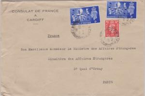 Great Britain 4d Festival of Britain (2) and 1d KGVI 1951 Cardiff, 7 to Paris...