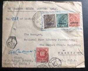 1937 Kathor India Postage Due Cover To National Library Washington Dc USA