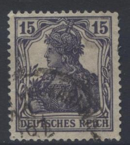 GERMANY. -Scott 100- Definitives -1917 - FU- Single  15pf  Dk Violet Stamp1