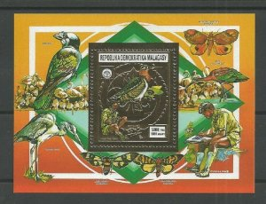 1988 Scouts Malagasy birds butterfly SS gold