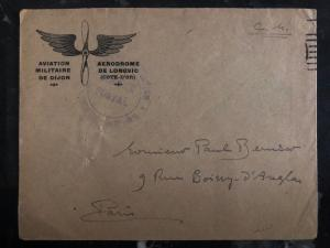 1930 Dijon France Military airmail Stampless Cover To Paris