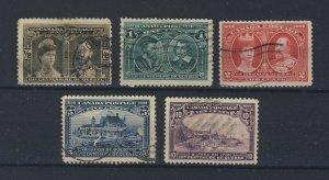 5x 1908 Quebec Used Tercent. stamps 1/2c-1c-2c-5c-10c Guide Value = $275.00