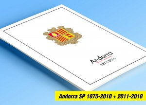 COLOR PRINTED ANDORRA [SPANISH] 1875-2018 STAMP ALBUM PAGES (60 illustr. pages)