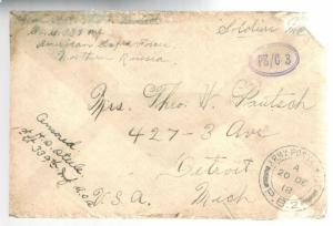 1918 US Army Soldier Cover AEF Archangel Russia American Expeditionary Force
