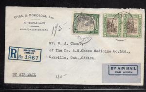 JAMAICA (PP1301B) 1937 4D PR+2D REG A/M COVER TO CANADA