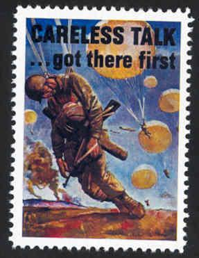 Patriotic WW2 Poster Stamp - Careless Talk... - Cinderella