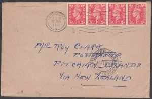 PITCAIRN 1951 inwards cover from GB with cds on front.......................M526