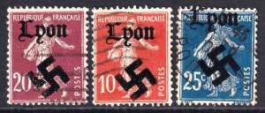 FRANCE LYON OVERPRINTS x3 DIFFERENT SOWER CDS SOUND