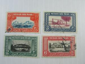 1950 Sudan SC #C35//C41  4 Nice Two-tone used airmail stamps