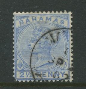 Bahamas -Scott 28 - QV Definitive Issue -1884 - FU - Single 2.1/2p Stamp