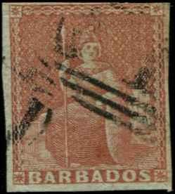 Barbados SC# 4 SG# 5 Britannia (4d) brn red Imperf Used