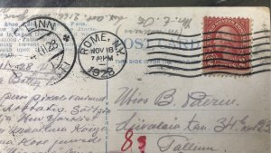 Lovely RED 2cent Washington on Int'l Postcard from US to Europe- Niagara...