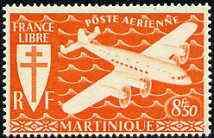 Martinique 1945 Fairey FC-1 the unissued 8f50 in orange u...