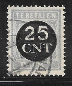 Netherlands J74: 25c on 1.5c Numeral, used, VF