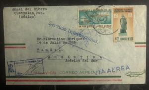 1960 Cuetzalan Mexico Airmail Cover To Tandil Argentina Sunburst Label