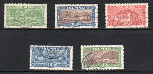 Iceland  Sc 144-48 1925 Landing the Mail & Buildings stamp set used