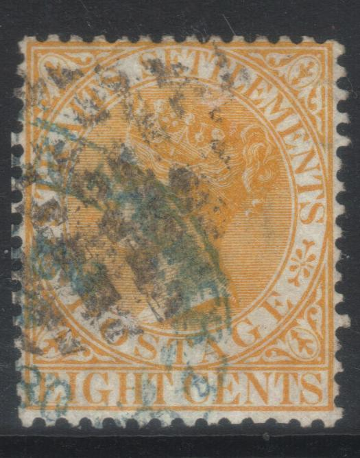 STRAITS SETTLEMENTS 1867-1872 CROWN CC SG14 USED CAT £18