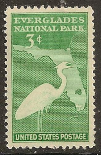 United States 1947 USA Everglades Park Dedication Place Bird Crane Nature Stamp