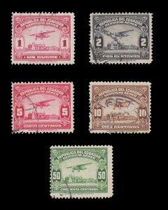 ECUADOR 1929 AIRMAIL STAMP COLLECTION SCOTT # C8 - C26. USED.