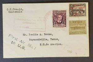 1929 Guatemala Raymondville Texas First Air Mail to United States Air Mail Cover