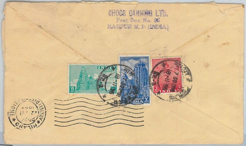 59171  -   INDIA  - POSTAL HISTORY: COVER to ITALY - 1955