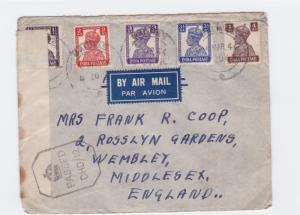british india  1944 censor air mail madras to englsnd stamps cover ref r15371
