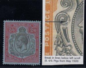 Bermuda, SG 89ie, used (likely fiscal) Break in Lines Below L Scroll variety