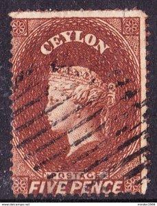 CEYLON 1862 5d Lake Brown SG40 13 perf No Watermark Perf 13 Used SG Value £150