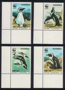 Namibia Birds WWF Jackass Penguin 4v Corners SG#713-716 MI#837-840 SC#821-824