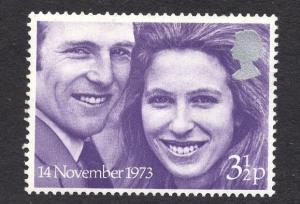 Great Britain  #707  MNH  1973 Royal wedding  3 1/2p