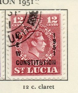 St Lucia 1951 GVI Early Issue Fine Used 12c. Optd NW-154995