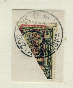 POLAND; 1915 early Warsaw issue fine used BISECT on POSTMARK PIECE