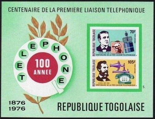 Togo C277a imperf,MNH.Michel Bl.102B. Telephone-100,Thomas Edison;Alexander Bell