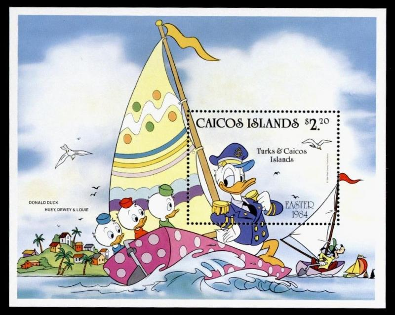 Caicos Islands 46 MNH Disney, Easter, Sailing, Donald Duck