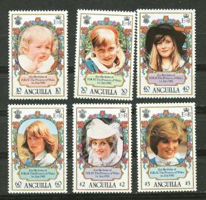 Anguilla # 485-90 Diana Birthday  (6) Mint NH
