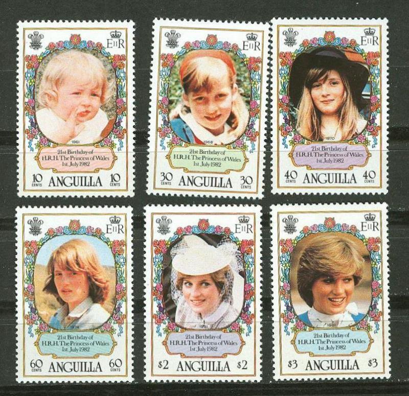 Anguilla # 485-90 Diana Birthday  (6) Mint NH