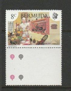Bermuda 1981 Heritage 8c WMK CROWN TO RIGHT of CA, UM/MNH Marginal SG 430w