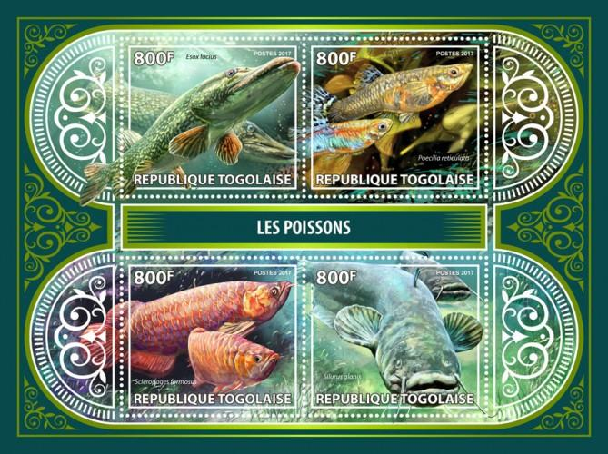 TOGO - 2017 - Fishes - Perf 4v Sheet - MNH