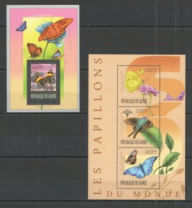 ST1299 2013 GUINEA BUTTERFLIES FAUNA INSECTS KB+BL MNH STAMPS