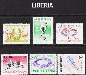 Liberia Scott 358-61, C104-05 complete set F to VF CTO.