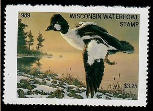 WI12 Wisconsin #12 State Waterfowl Duck Stamp - 1990 Common Goldeneye