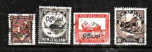 New Zealand-Sc#O66-O68B-four used Officials-1936-42-